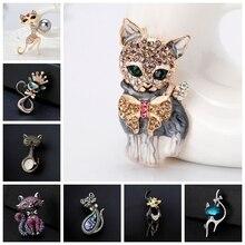 Яркая брошь в виде кошки, вечерние, Металлическая корона, синий кристалл, эмалированная булавка, черная брошь в виде животного для женщин, ювелирное изделие, аксессуары