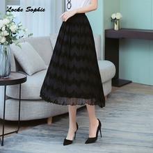 1pcs Hight waist skirts Women Plus size Pleated 2019 Autumn cotton mesh Splicing Black skirt Ladies Casual