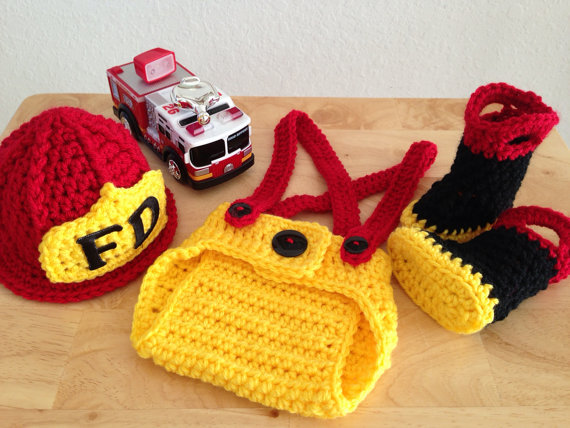 Crochet Baby Firefighter sets baby boy Hats & Pants and boots three-piece Newborn Photo Prop
