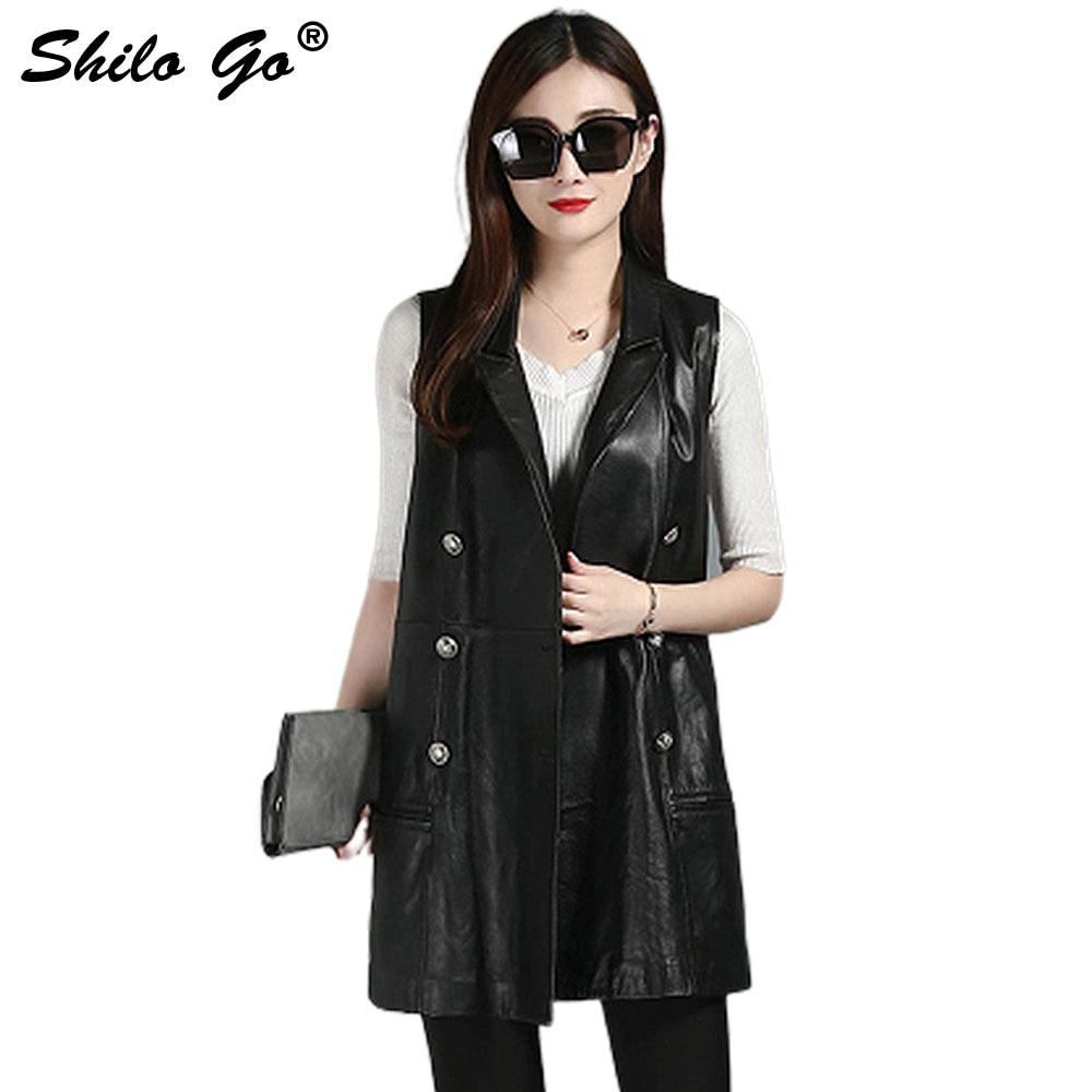 efc3b95fc8 SHILO GO Leather Vest Womens Autumn Fashion sheepskin genuine leather OL  long Vest lapel double breasted bow belt trumpet skirt