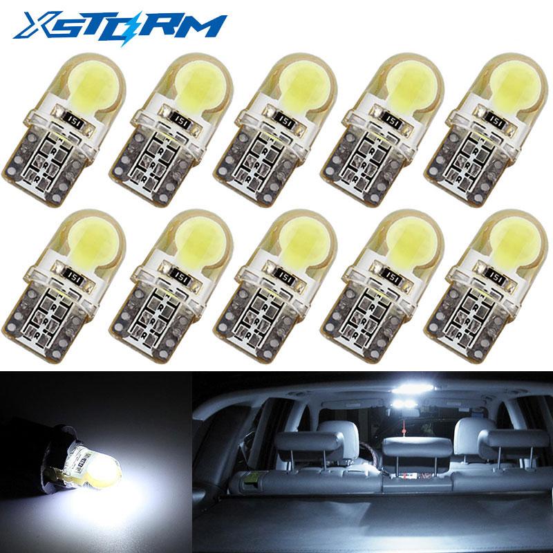 10 pçs auto t10 led branco frio 194 w5w led 168 cob carro de sílica super brilhante virar lado da placa de licença lâmpada luz dc 12 v