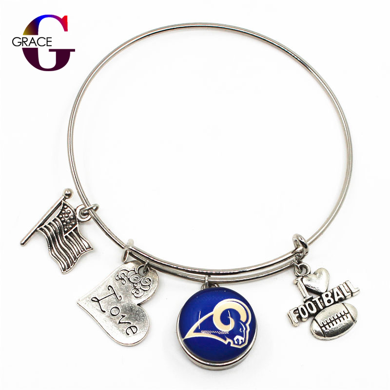 Los Angeles Rams Sports Charms Adjustable I Love Football Expandable Women Bangle Bracelets With Ginger Snaps Buttons Jewelry