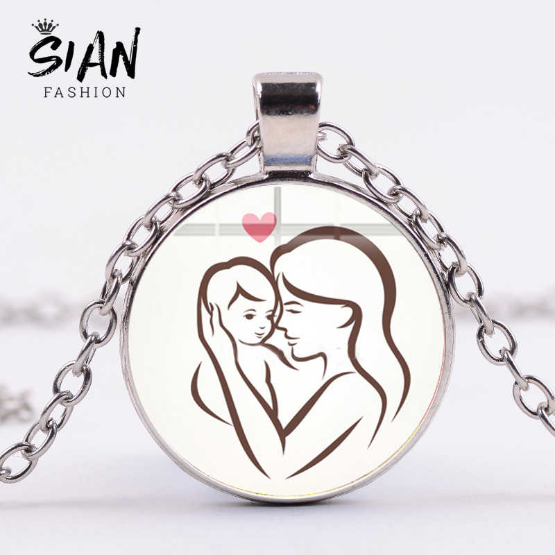 SIAN Best Mother and Baby Family Necklace Cartoon Figures Glass Cabochon Pendant Silver Plated Chain Necklace Mother's Day Gift