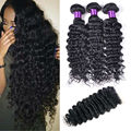 8A Brazilian Deep Wave With Closure 3 Bundles Deep Curly With Closure Cheap Human Hair Weave Brazilian Virgin Hair With Closure