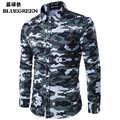 New Mens Dress Shirts 2017 Brand Designer Casual Long Sleeve Cotton Slim Fit Men Shirt Camouflage Chemise Homme Clothes