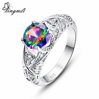 lingmei Wholesale Wedding Gorgeous Round Cut Multicolor & White & Green Zircon Silver Jewelry 925 Ring Size 6 7 8 9 Fashion Gift