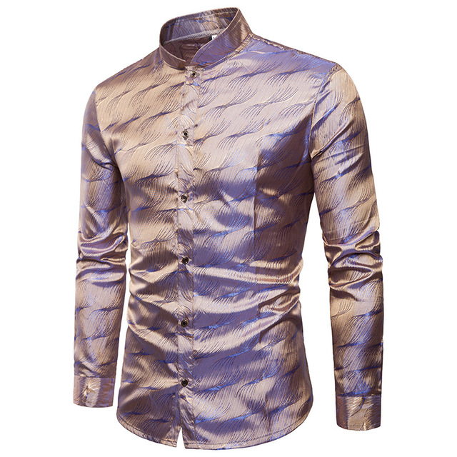 Błyszcząca jedwabna satynowa koszula mężczyźni brokat gładka woda marszczyć koszule z nadrukiem mężczyźni sukienka klub nocny dyskoteka koszula sceniczna koszulka Homme