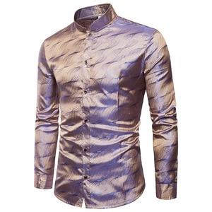 Image 1 - Camisa de cetim de seda brilhante dos homens glitter suave ondinha de água impressão camisas vestido masculino discoteca festa de discoteca palco camisa chemise homme
