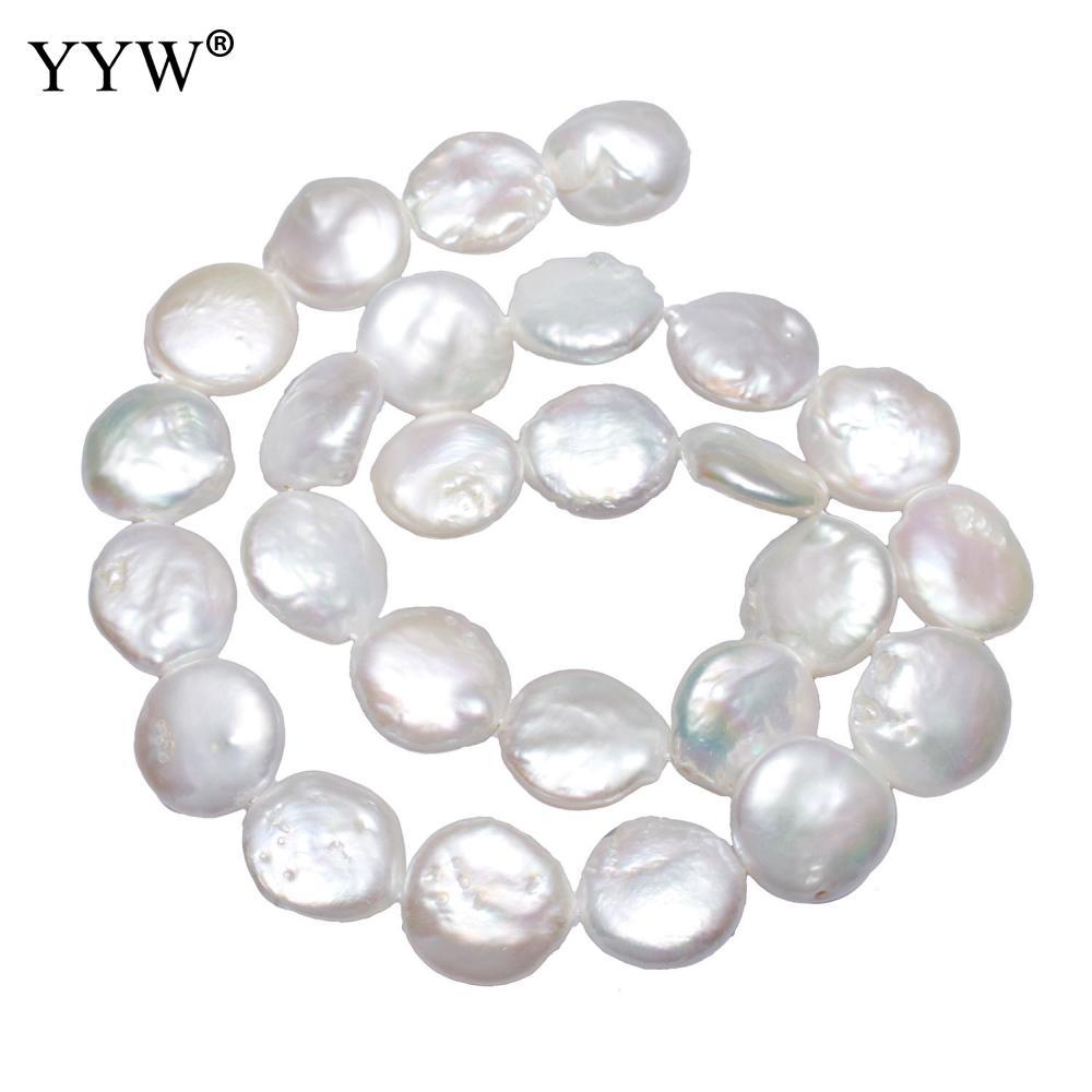 Pièce de culture perles d'eau douce perles plat rond blanc naturel 13-14mm environ 0.8mm vendu par environ 15 pouce brin