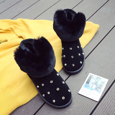 ORATEE 2017 real rabbit fur snow boots women s short sleeve thick cotton shoes boots wild