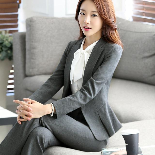 Mulheres ternos de Negócio Ternos Formais Escritório Uniforme estilo Fatos de calça Nova 2016 Queda Mulheres Primavera desgaste do Trabalho Feminino Blazer pant conjuntos 4XL