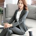 Para mujer Trajes de Negocios Oficina Formal estilo Uniforme Trajes pantalón Nuevo 2016 Otoño Primavera Mujeres Chaqueta Femenina de ropa de Trabajo conjuntos pantalón 4XL