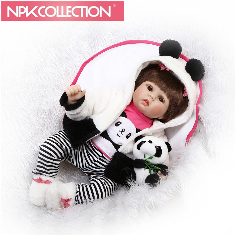 Silicone Cotton Body Doll Reborn Babies Soft Interactive Chinese Dolls with panda toyBody Alive Surprise Princess Doll for Girl pink wool coat doll clothes with belt for 18 american girl doll