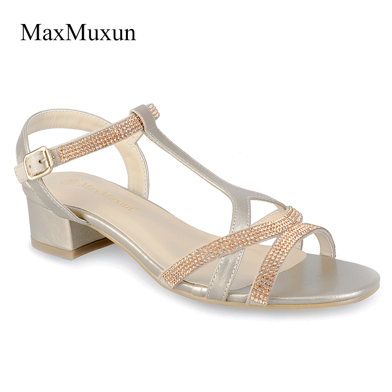 cd9ec37bb0fc6 MaxMuxun Women Sandals Bling Rhinestones Mid Heels T-strap Gladiator Gold  Sandal 2018 Summer Style Crystal Bordered Ladies Shoes
