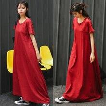 8063 Весна и лето новая ультра-длинная свободная буксировочная юбка платье с короткими рукавами Повседневная Длинная юбка для беременных женщин