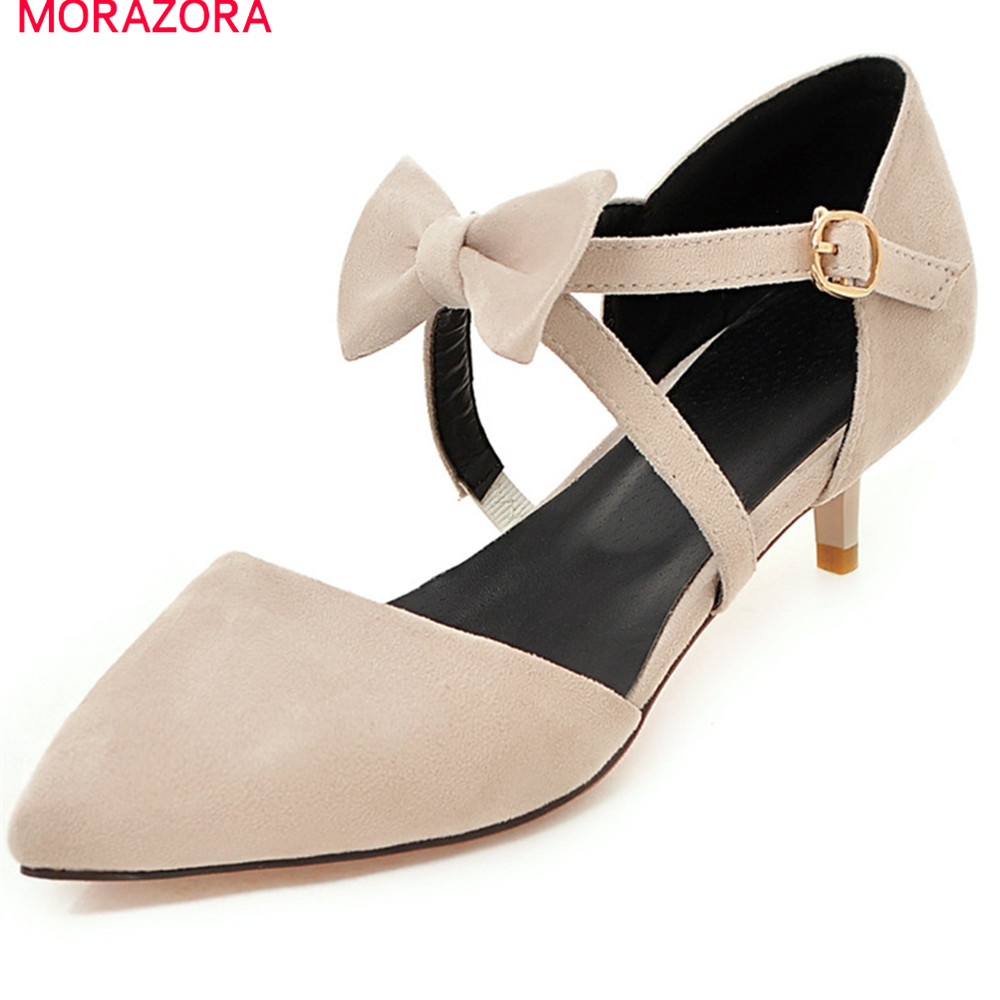 MORAZORA spring summer sexy female shoes with butterfly knot pointed toe thin heel flock wedding shoes women pumps new 2017 spring summer women shoes pointed toe high quality brand fashion womens flats ladies plus size 41 sweet flock t179