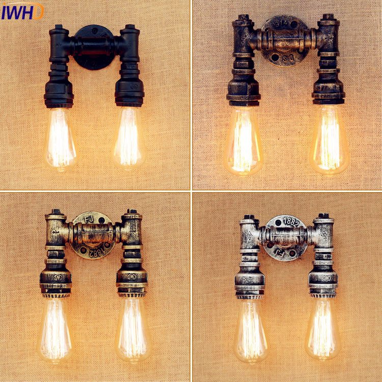 IWHD Loft Retro Vintage Wall Lamp Dinning Room Water Pipe Wall Light Industrial LED Edison Style Lighting Sconces Lampara Pared edison retro vintage lamp loft industrial pendant light fxitures dinning room water pipe lighting lamparas 5 color lampshade