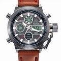 Reloj de los hombres deportivos de marca amst cuarzo de doble pantalla de reloj correa de cuero a prueba de agua a prueba de golpes relogio masculino 2016 montre homme