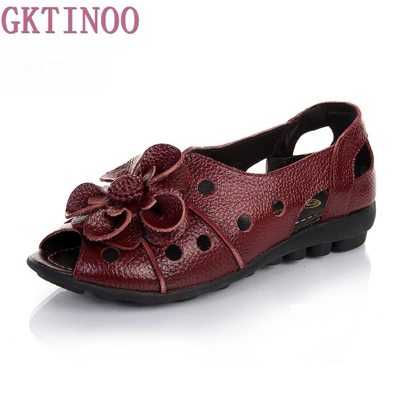 genuine leather flower open toe female sandals flat slip-resistant women's casual shoes flat heel sandals