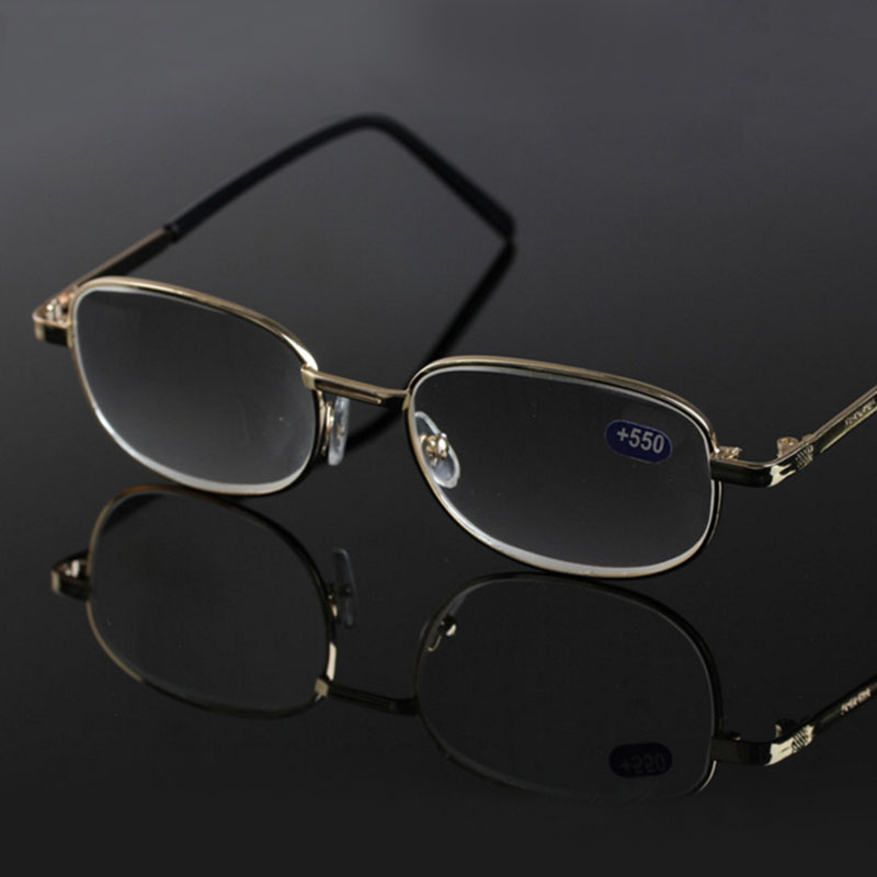 b2f1b6659e Men Women Reading Glasses Elderly Glass Lenses Metal Frame Hyperopia +450  500 550 600 R151