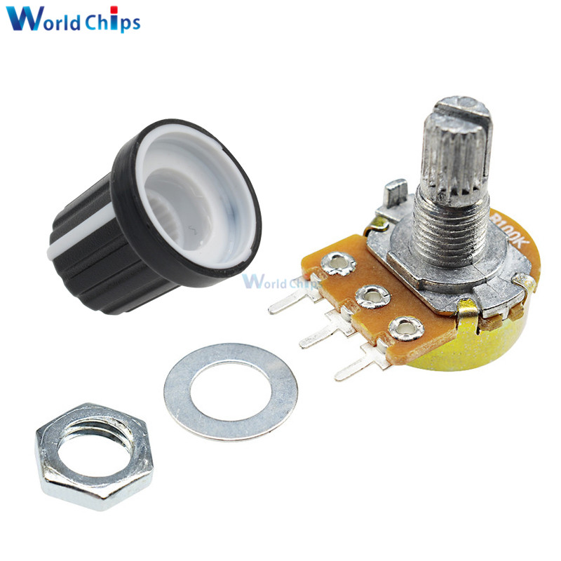 1 Set WH148 Linear Taper Rotary Potentiometer Shaft B1K B20K B50K B100K B500K 3Pin 15mm With Nuts Washers with Cap for Arduino