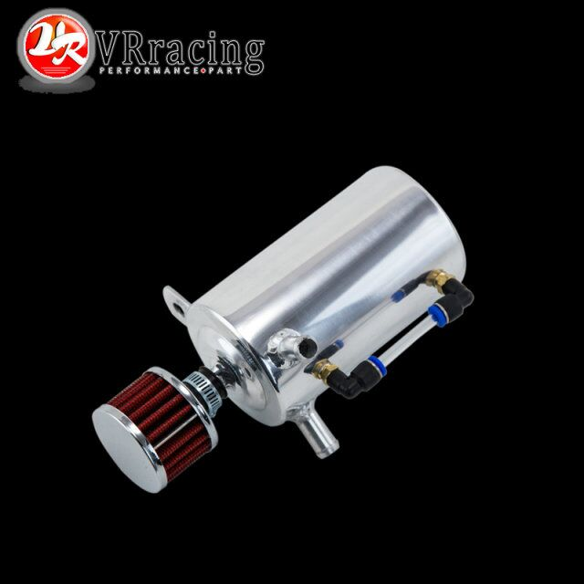 VR RACING - UNIVERSAL BREATHER TANK&OIL CATCH CAN TANK WITH BREATHER FILTER ,0.5L VR-TK10 gtb racing baja metal air filter oil tank cover