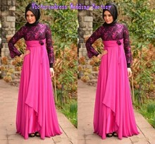 Dubai Moroccan Kaftan Abaya Evening Gowns With Muslim Hijab Long Sleeves High Neck Saudi Arabic Islamic Ladies Dresses Vestidos