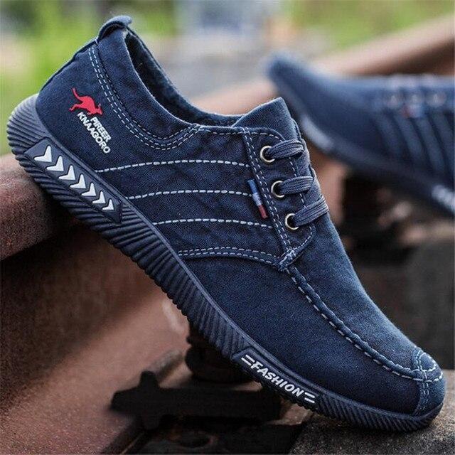 Baskets en toile pour hommes chaussures décontractées, chaussures dété à lacets, aérées, noires, tennis
