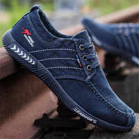 Canvas Shoes Men Denim Loafers Casual Shoes Men Sneakers Summer Lace-Up Male Trainers Breathable Shoes Black Tenis Masculino