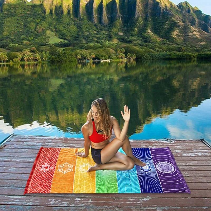 2018 New Rainbow Stripes Yoga Blankets Mandala Beach Towel Yoga Mat Bohemia Mandala Blanket Pilates Towel Wall Hanging Mat