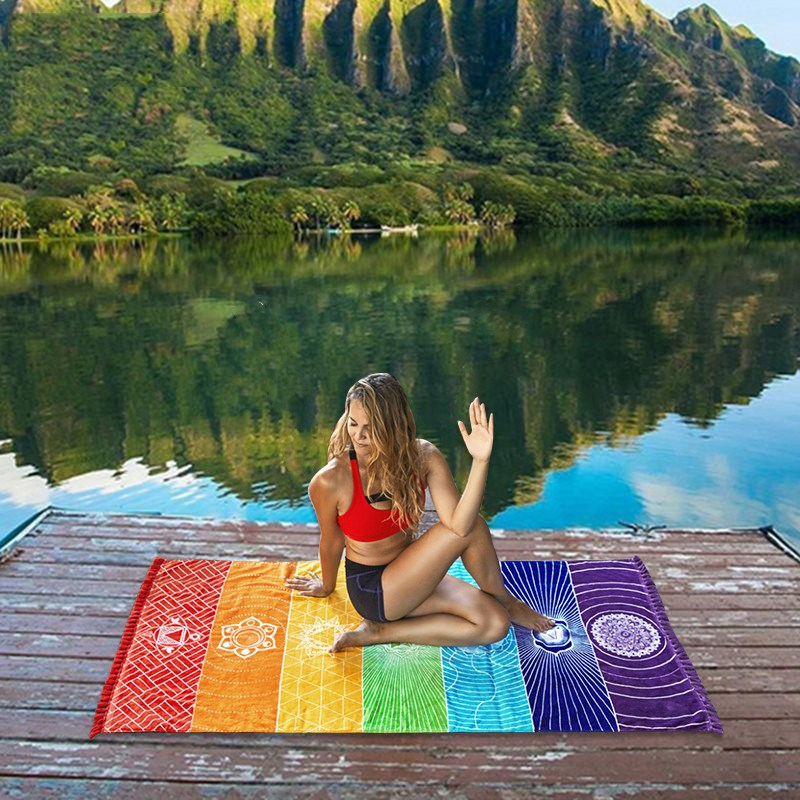 2018 New Rainbow Stripes Yoga Blankets Mandala Beach Towel Yoga Mat Bohemia Mandala Blanket Pilates Towel Wall Hanging Mat