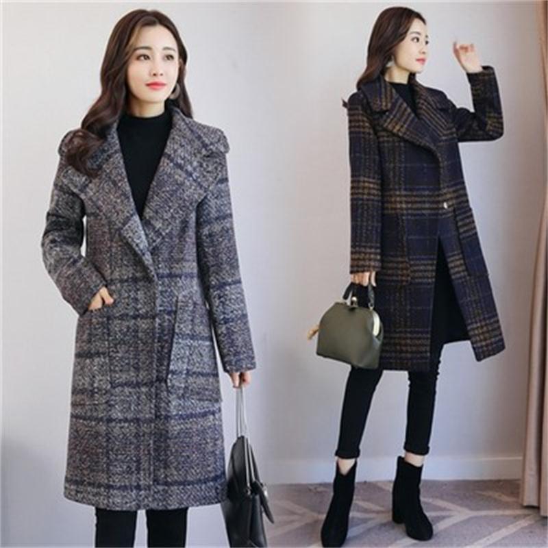 Mode manteau de laine femme automne et hiver nouveau manteau de laine plaid coupe-vent manteau de laine manteau marée femmes lâche sauvage Ms
