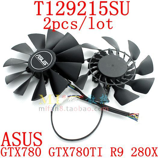 Free Shipping   T129215SU  2pcs/lot 95mm 4X28mm 12V 0.5A for ASUS  GTX780/ 780TI R9 280/280X  290/290x  GTX970/980  Cooling fan free shipping for gtxtitan 6gd5 6g seconds 1070 980 1060 970 780 rx 470