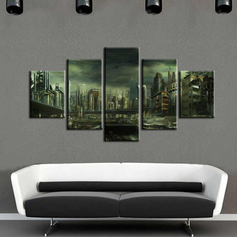 5 pieces / set of Movie poster landscape wall art for wall decorating home Decorative painting on canvas framed/XC-city-64
