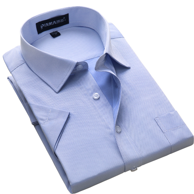 Plus size S to 8xl 2018 Summer style short sleeve regular fit men'sdress shirt turn down collar twill/Plain large male clothes