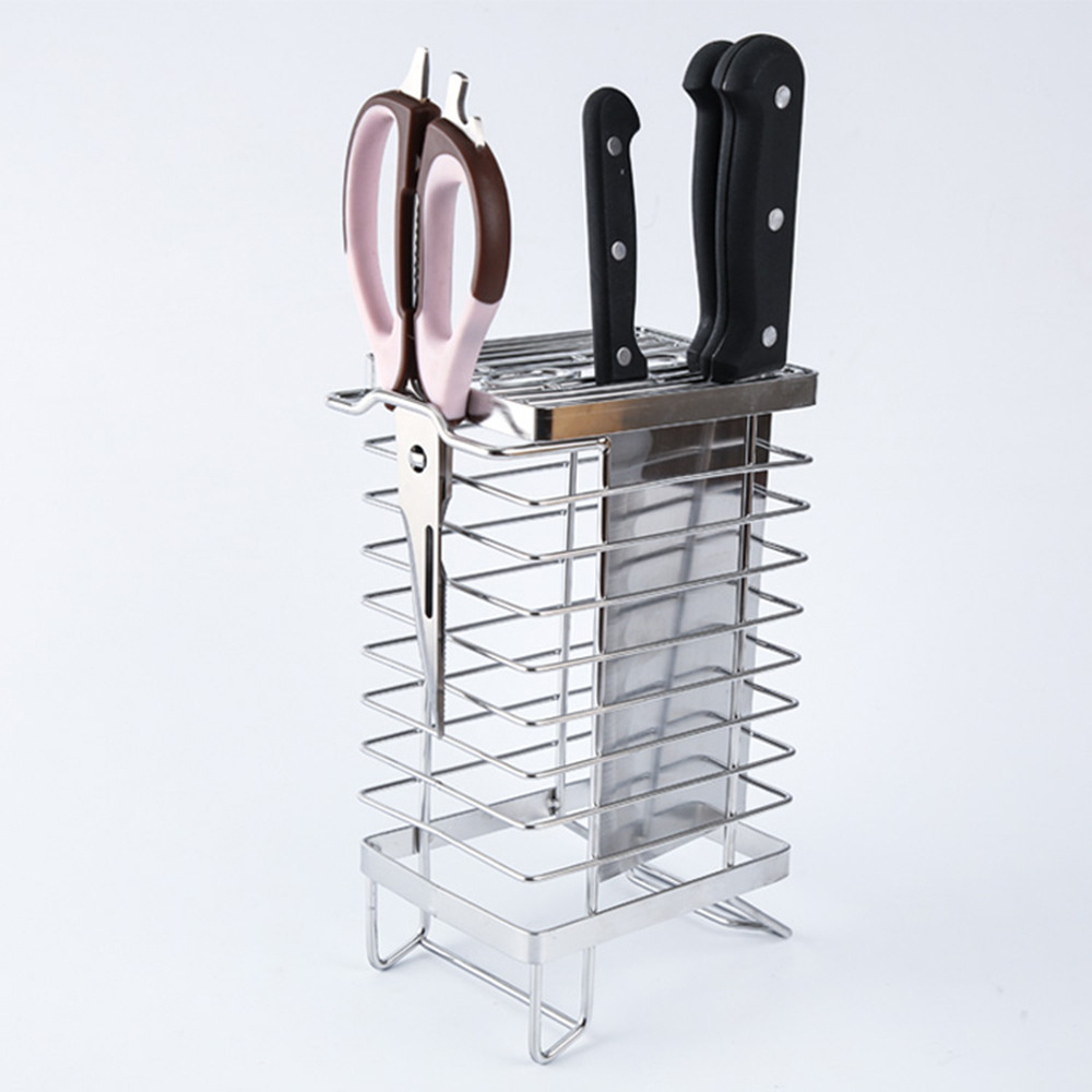 Stainless Steel Trapezoidal Kitchen Knife Storage Holder Home Kitchen Racks Household Metal Knife Block Shelf