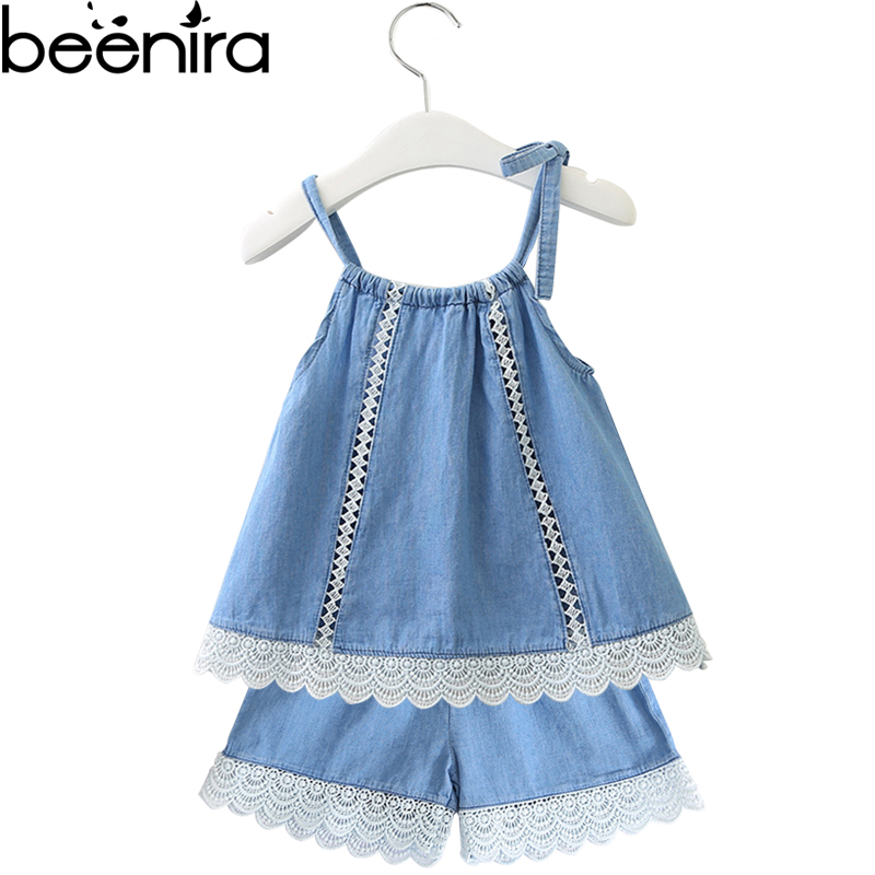 Beenira Kids Clothing Suits 2018 New Fashion Casual Style Sets Girls Lace-edge Denim Vest + Denim Short Sleeveless Clothes Suits