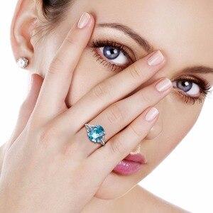 Image 2 - Joyería clásica princesa corte azul de luz de la luna cristal anillo de boda 925 Plata mujeres Vintage anillo de compromiso fino traje joyería
