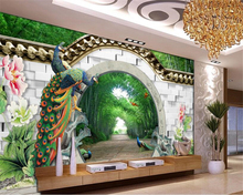 Beibehang wall papers home decor Fantasy 3d spring bamboo forest arches brick peacock peony photo wallpaper papier peint