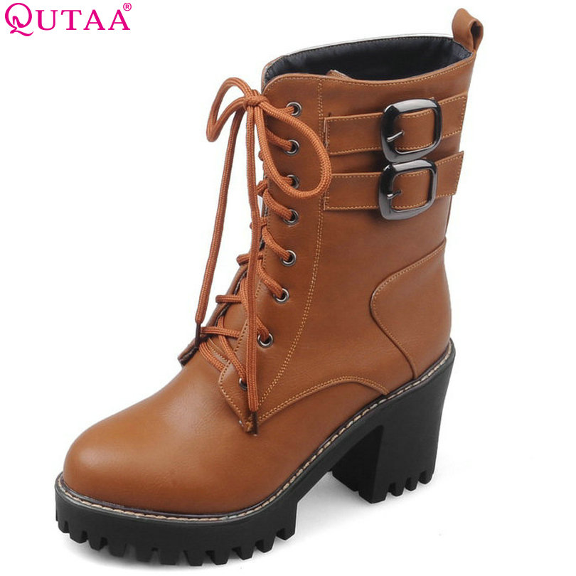 QUTAA Beige PU leather Women Shoes Black Pointed Toe Square High Heel Lace Up Ankle Boots Women Motorcycle Boot Size 34-43