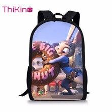 Thikin Zootopia School Bag for Teenager Boys Backpack Girls Cartoon Travel Package Shopping Shoulder Bag Women Mochila недорого