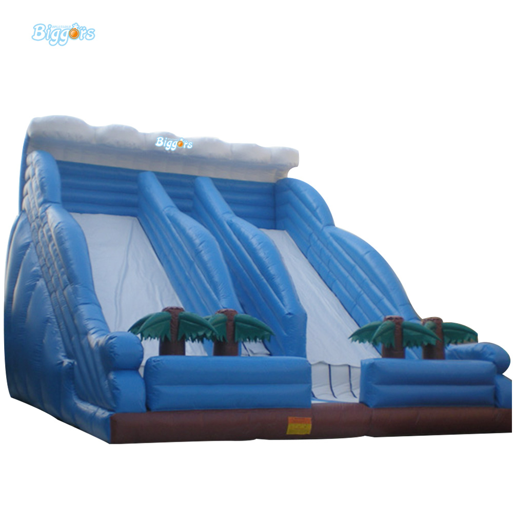 Outdoor PVC Giant Inflatable Double Lane Water Slide For Adults And Kids jungle commercial inflatable slide with water pool for adults and kids