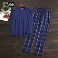 Hot Simple 100% cotton Mens pajamas sets loose long-sleeve mens cotton sleepwear for Male plus size pijama hombre pyjamas men