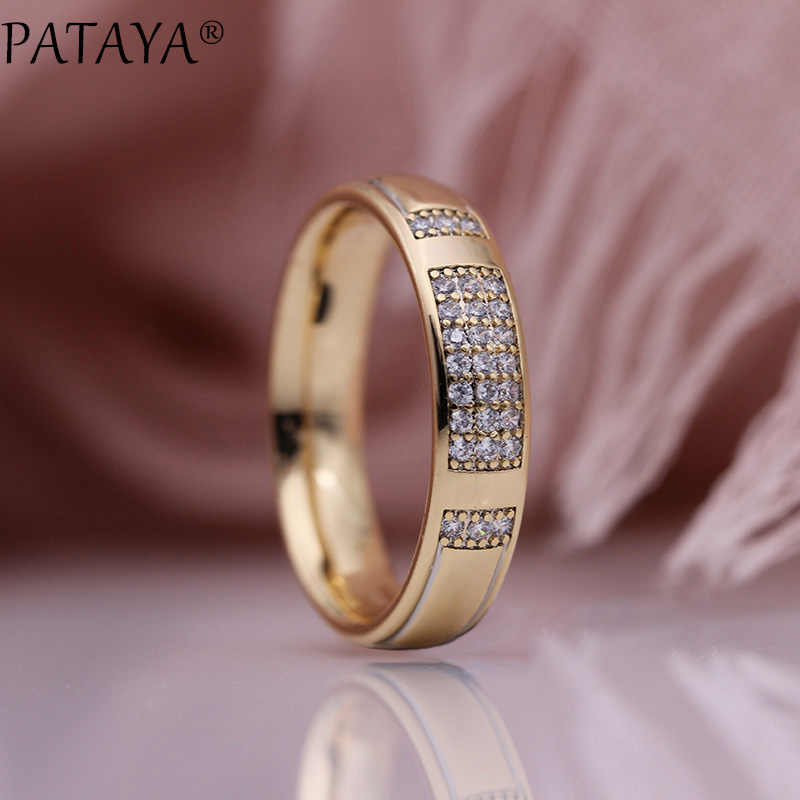 PATAYA New Family Rings 585 Rose Gold White Micro Wax Inlay Natural Zircon Women Wedding Engagement Fashion Jewelry Glossy Ring