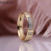 PATAYA New Family Rings 585 Rose Gold White Micro Wax Inlay Natural Zircon Women Wedding Engagement Fashion Jewelry Glossy Ring
