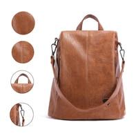 2019 Brand Backpack Female New Women PU Leather Backpack Bag Anti Theft High Quality Softback Urban Fashion Backpacks For Girls