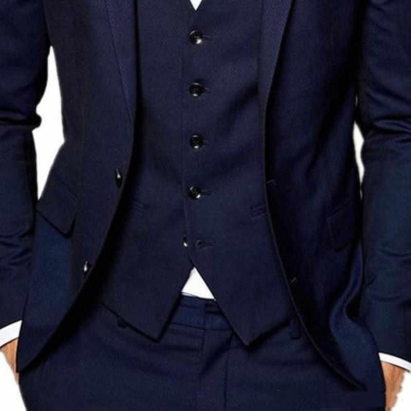 クラシックデザイン紺新郎タキシードノッチラペル 2 ボタン花婿の付添人メンズウェディングドレス優秀な男のスーツ (ジャケット + パンツ + ベスト
