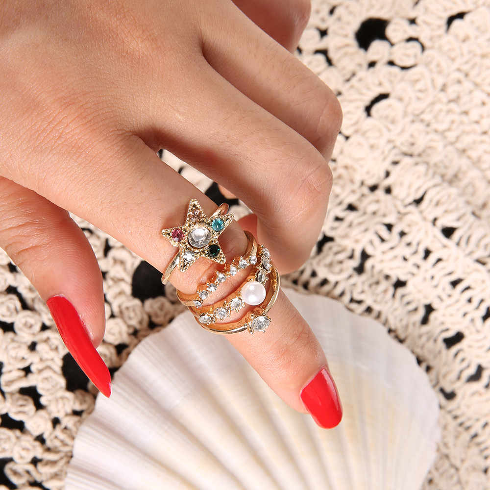 4 Pcs/set Gold Midi Finger Ring Set Vintage Punk Boho Knuckle Rings Jewelry Beautiful Accessories Couples Rings Bijouterie *30