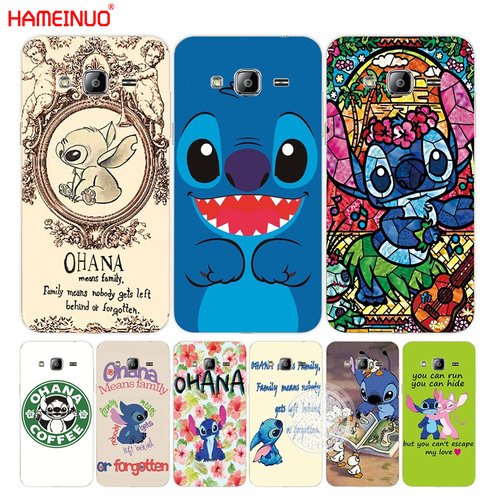 HAMEINUO Lilo and Stitch Quote Ohana Means Family cover phone case for Samsung Galaxy J1 J2 J3 J5 J7 MINI ACE 2016 2015