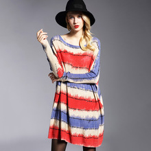 Casaco Malha Hot New Euramerica Womens Large Size Slim Sweater Knitted Printed Knit Mujer